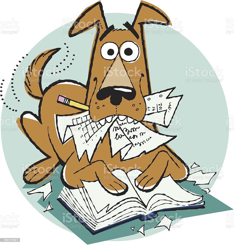 Dog Ate My Homework Cartoon, Pet, Reading, Education vector art illustration