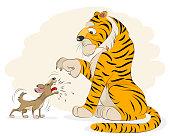 Dog barking at a tiger