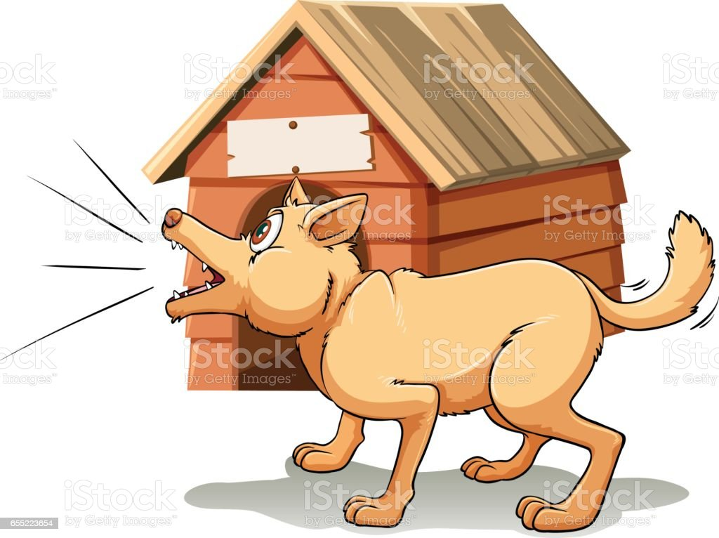 Dog barking in front of dog house