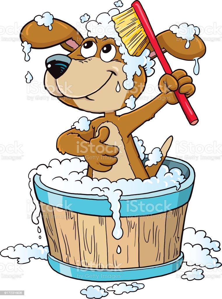 dog bathing time vector art illustration