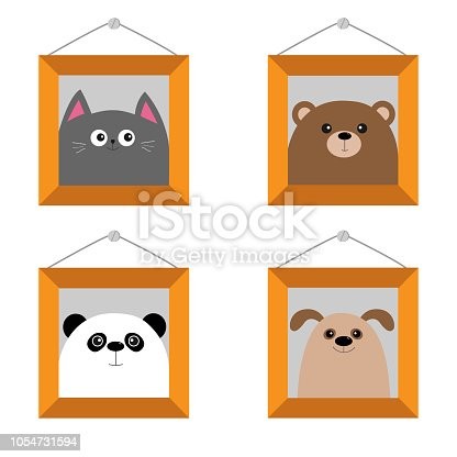 Dog Bear Cat Panda Head Picture Frame Hanging On The Wall Cute