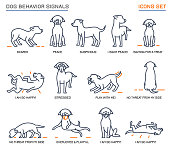 Dog behavior icons set. Domestic animal or pet language collection. No threat from my side. Happy doggy reaction. Simple icon, symbol, sign. Editable vector illustration isolated on white background
