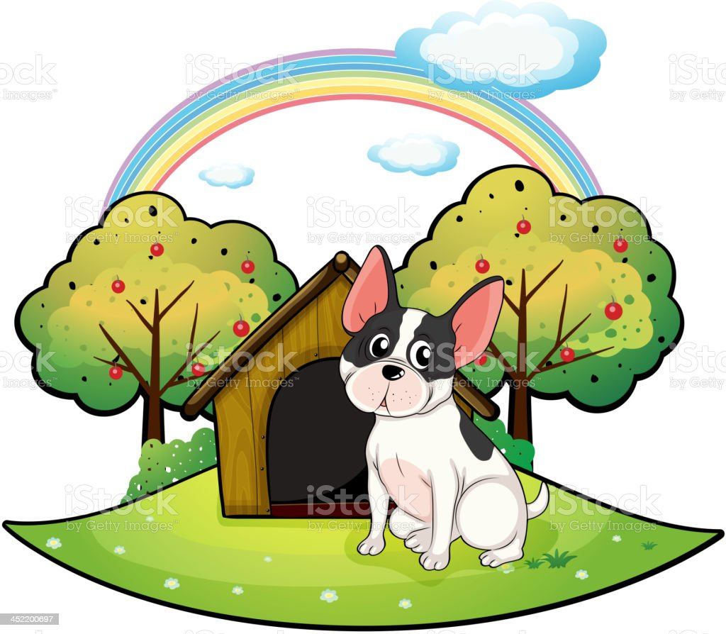 Dog beside a doghouse royalty-free stock vector art