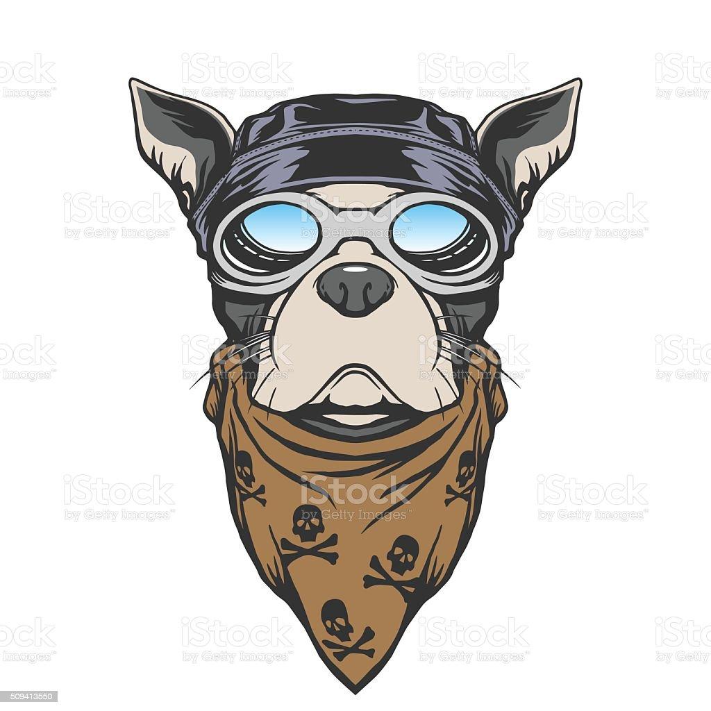 Dog biker illustration vector art illustration