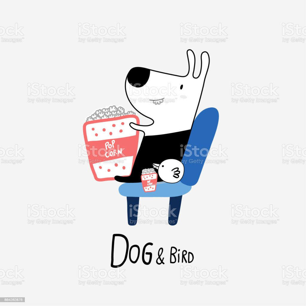Dog & Bird eating popcorn at the cinema, vector illustration royalty-free dog bird eating popcorn at the cinema vector illustration stock vector art & more images of animal
