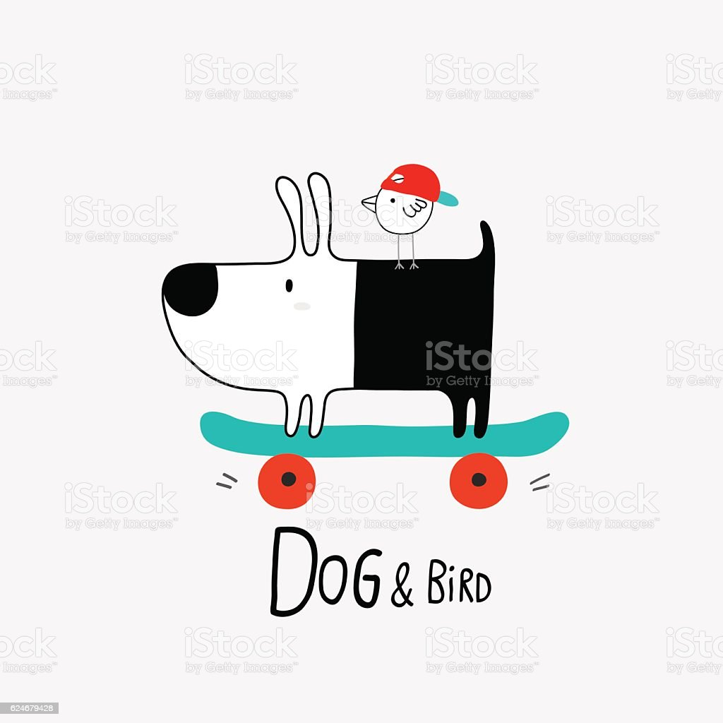 Dog & Bird on skateboard vector art illustration