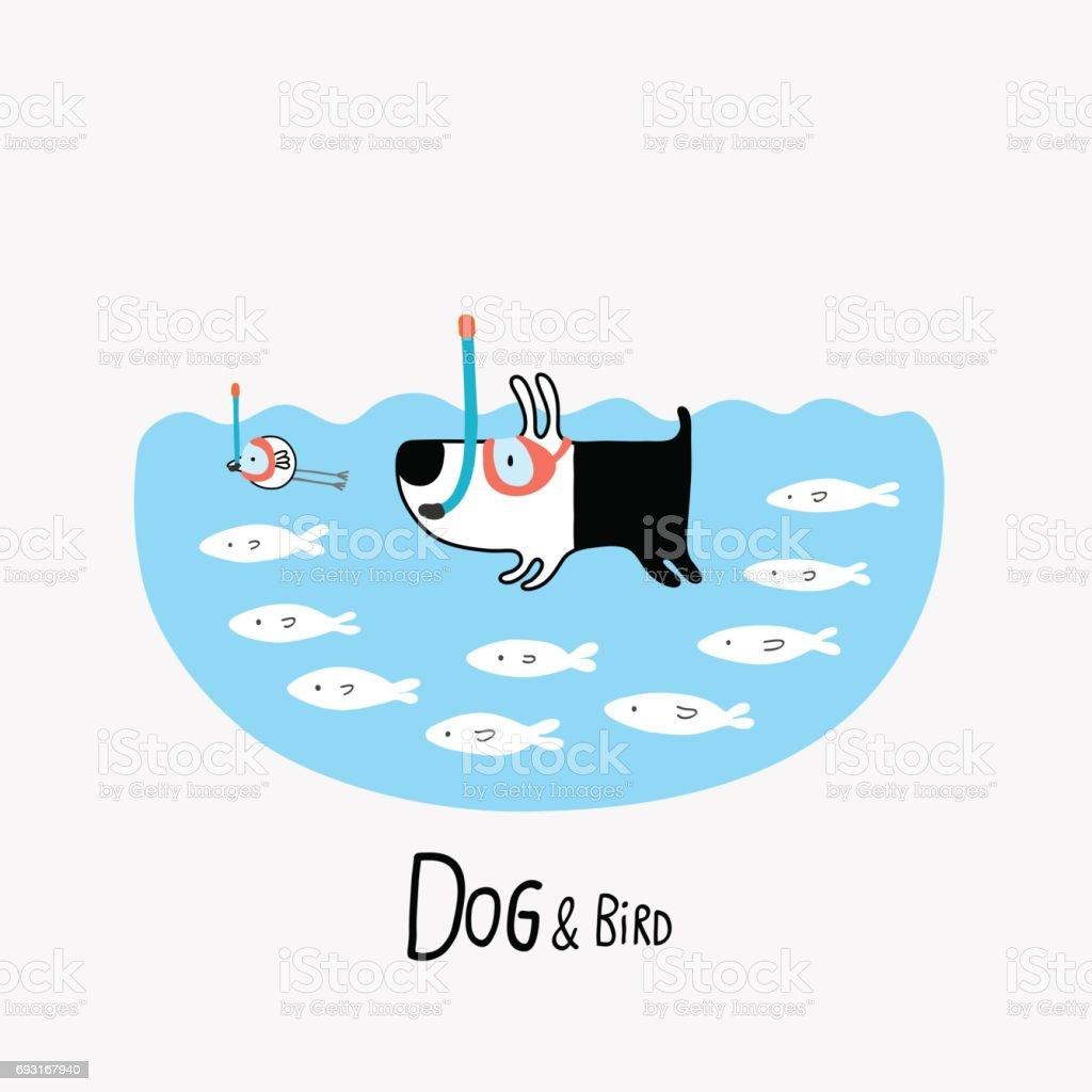 Dog & Bird snorkeling, vector illustration