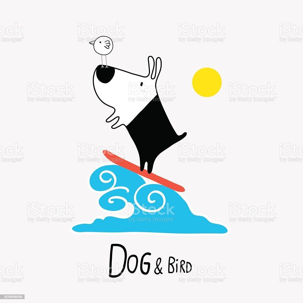 Dog & Bird surfing, vector illustration vector art illustration