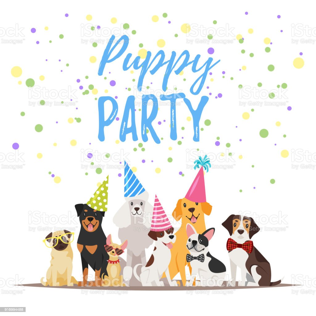 Dog Birthday Party Greeting Card Stock Illustration Download Image Now Istock