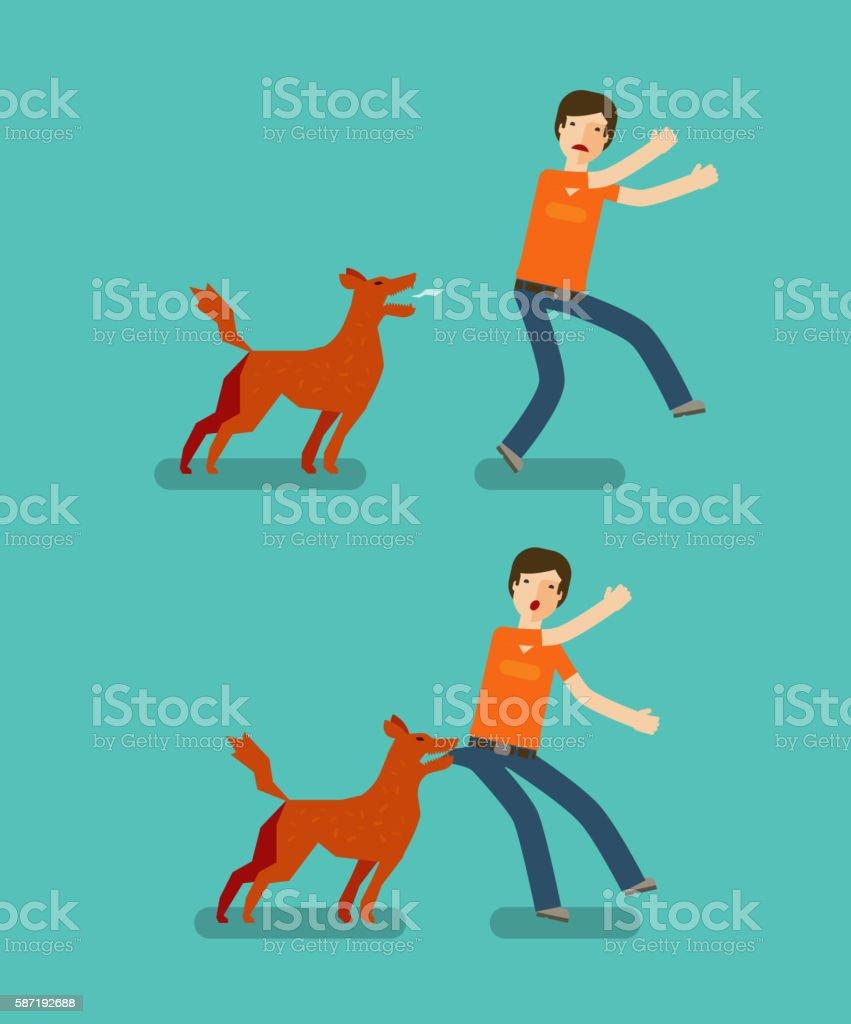 Dog bite man. Cartoon vector illustration