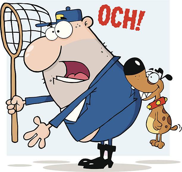 경견 물어뜯기 a dogcatcher 및 배경 - 강아지 실루엣 stock illustrations
