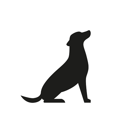 Dog black silhouette isolated on white background. Sitting pet simple illustration for web. - Vector