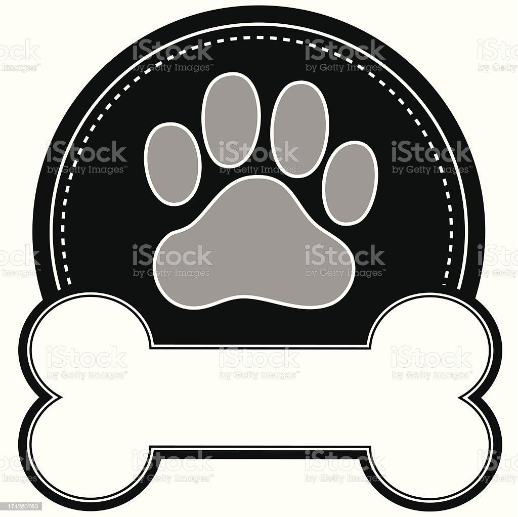 Pata de perro y hueso - ilustración de arte vectorial