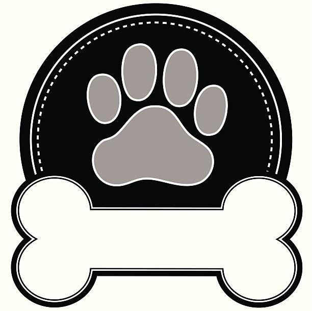 stockillustraties, clipart, cartoons en iconen met dog bone and paw - hondenkluif