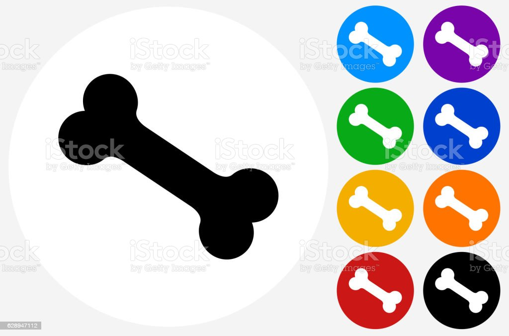 Dog Bone Icon on Flat Color Circle Buttons