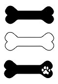 istock Dog bone silhouette and outline 1216757880