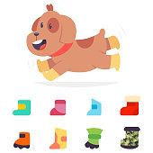 Dog boots vector cartoon flat icons set.