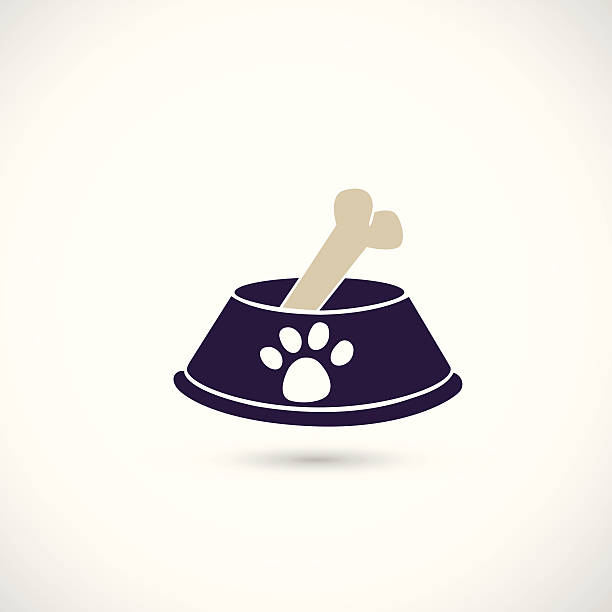 dog bowl icon - dog treats stock illustrations
