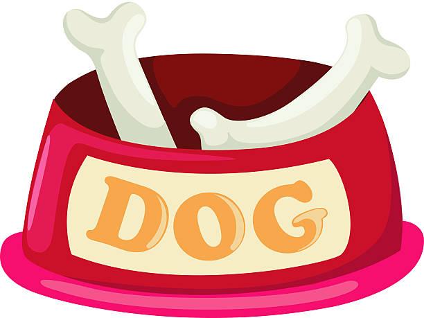 hund schüssel mit großen bone - hundeleckerli stock-grafiken, -clipart, -cartoons und -symbole