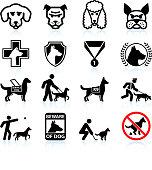 Dog breeds black and white icon set