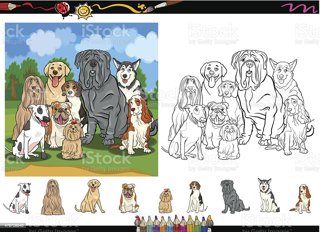 Dog Breeds Cartoon Coloring Page Set Stock Vector Art & More Images ...