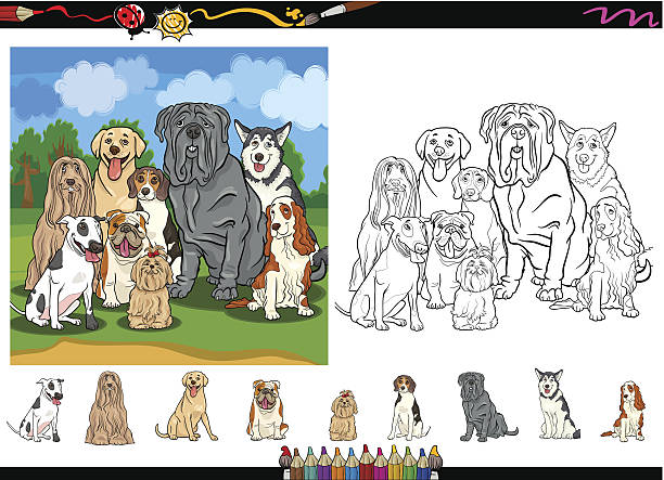dog breeds cartoon coloring page set vector art illustration