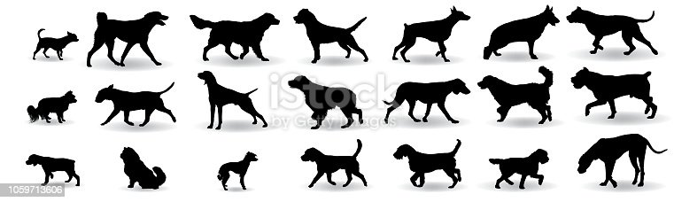 Dog Breeds Silhouette Set