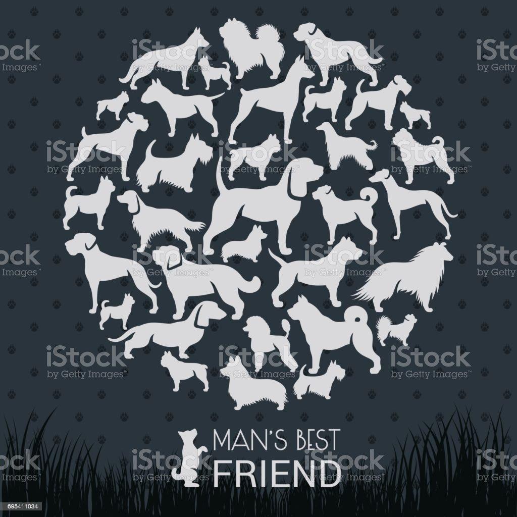Dog Breeds – artystyczna grafika wektorowa