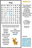 Dog breeds word search puzzle