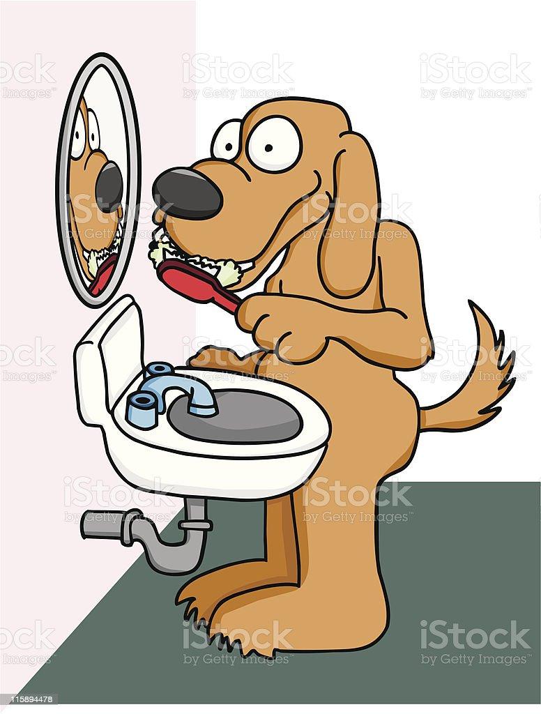 Dog Brushing Teeth royalty-free stock vector art