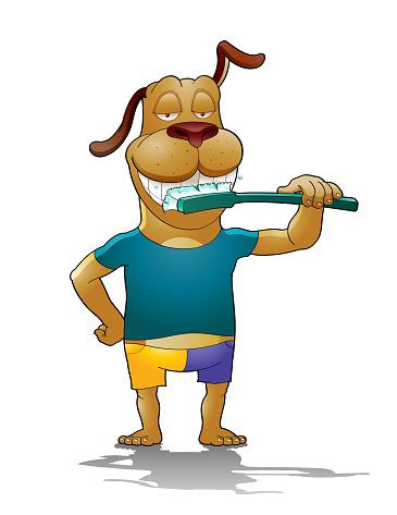 Dog brushing teeth