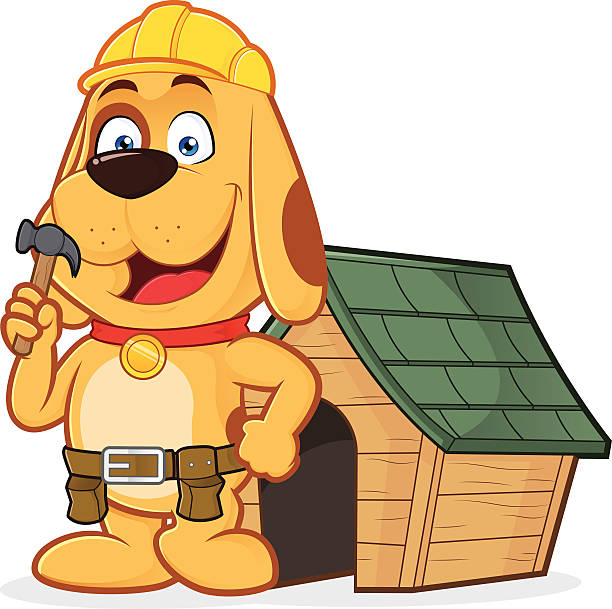 hund builder mit dog house - arbeitshunde stock-grafiken, -clipart, -cartoons und -symbole