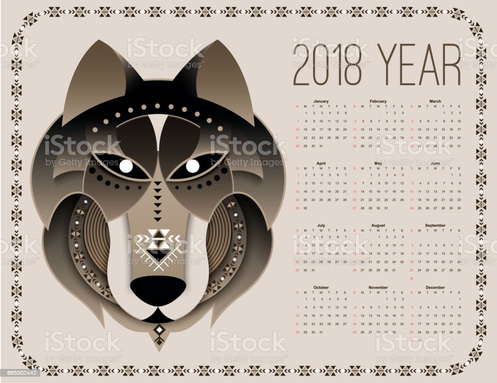 Dog calendar 2018 vector art illustration