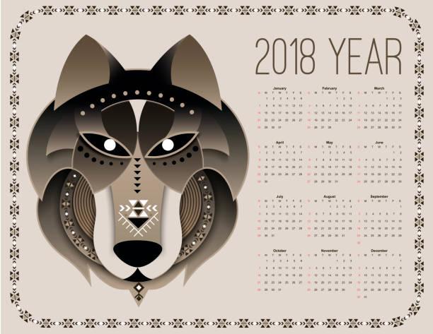 ilustrações, clipart, desenhos animados e ícones de calendário de cão 2018 - calendário de vida selvagem