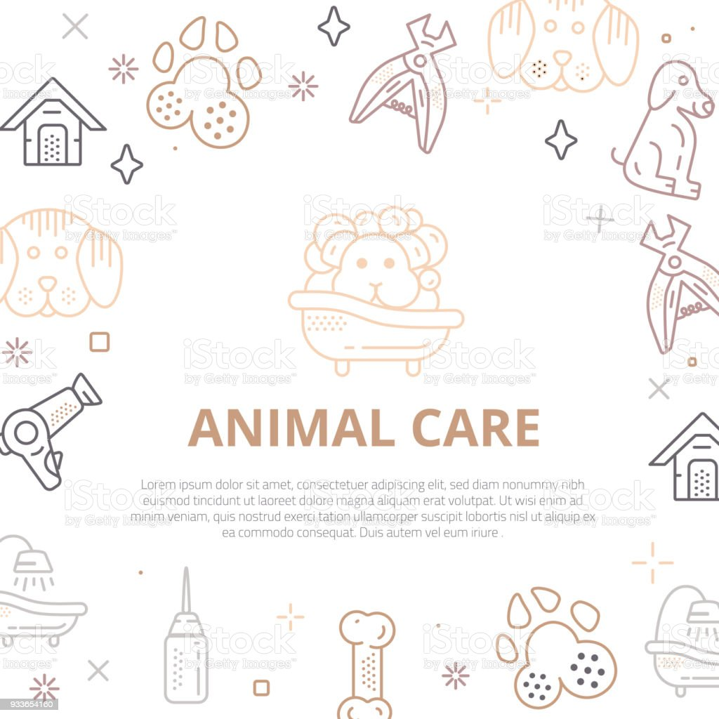 Dog care Line art banner with sign of dog, bone, clipper, comb. Stylish animal equipment for your promo design vector art illustration