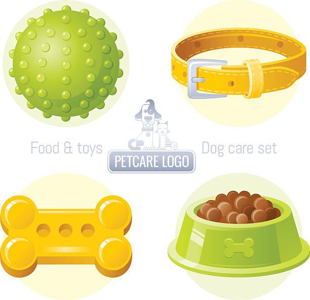 ilustrações de stock, clip art, desenhos animados e ícones de dog care vector icon set with logo design - dog food