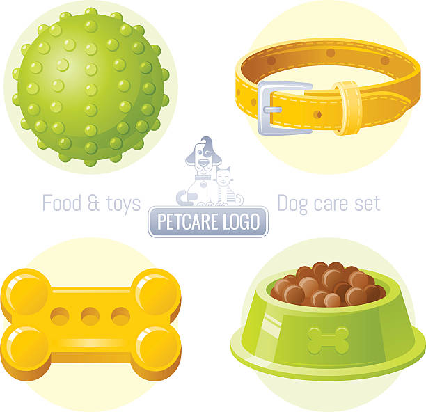 dog care vector icon set with logo design - hundehalsbänder stock-grafiken, -clipart, -cartoons und -symbole