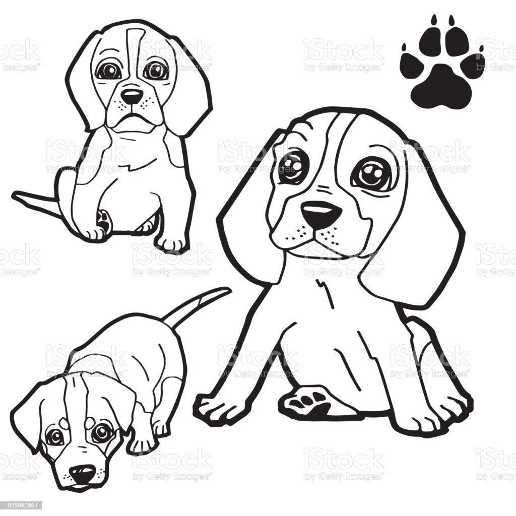 Ilustración De Pata De Perro Y Perro De Dibujos Animados Para