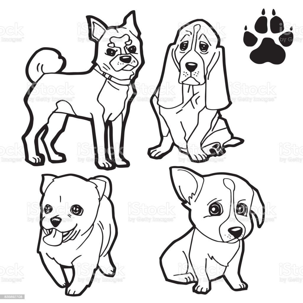 Ilustración de Pata De Perro Y Perro De Dibujos Animados Para ...