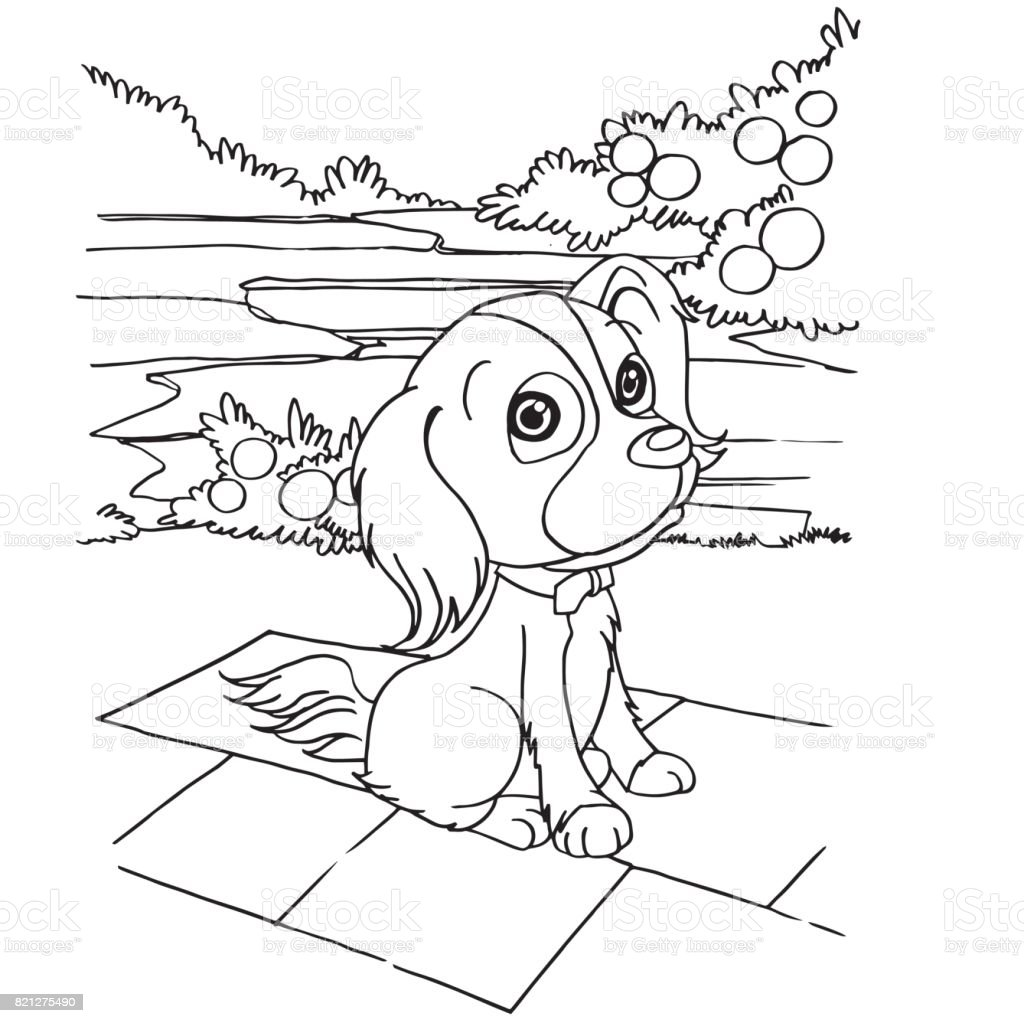 Köpek çizgi Film Sayfa Vektör Boyama Stok Vektör Sanatı Animasyon