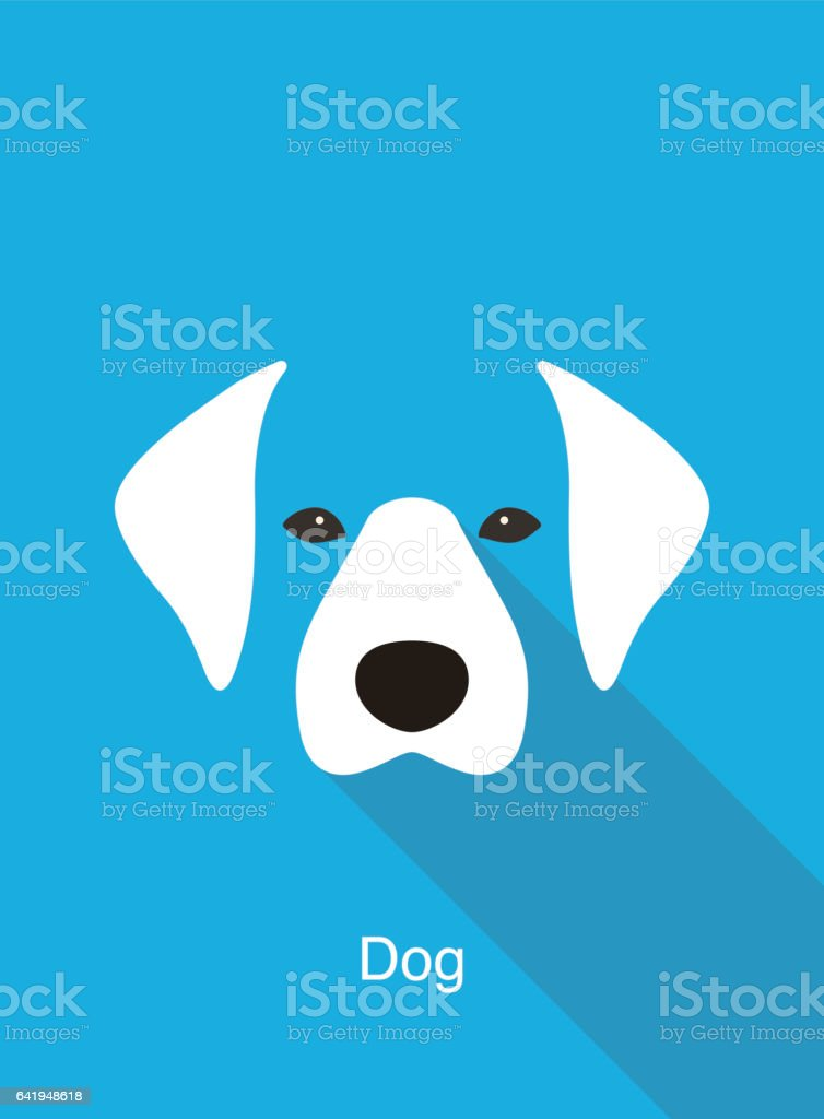 犬漫画の顔、フラット動物の顔のアイコン ベクトル ベクターアートイラスト