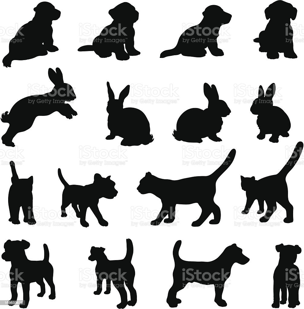 Dog, cat and rabbit silhouette set vector art illustration