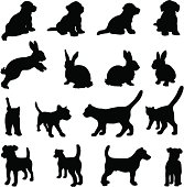 Dog, cat and rabbit silhouette set