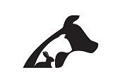 Dog cat and rabbit silhouettes veterinary icon vector web image design template