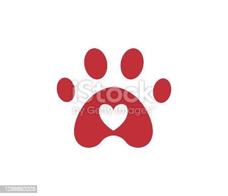 istock Dog, cat ,paw vector footprint icon heart logo. 1288862025
