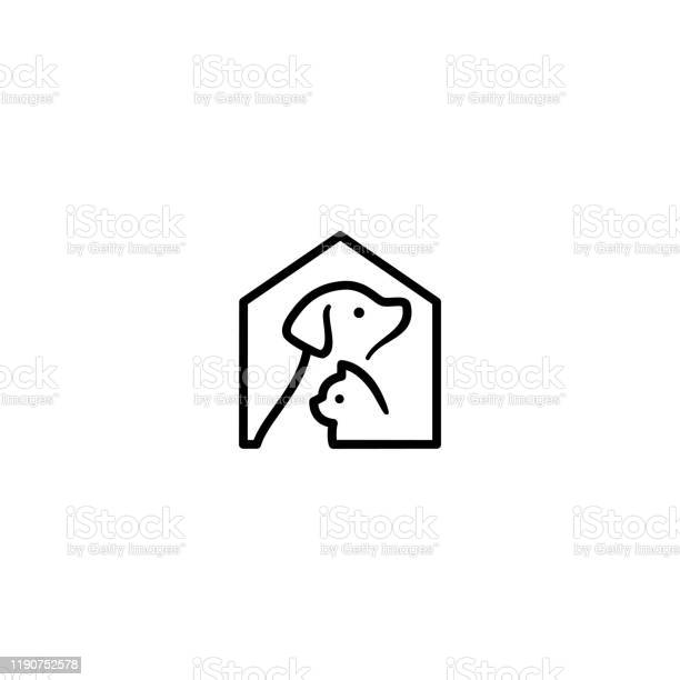 Dog cat pet house home vector icon illustration vector id1190752578?b=1&k=6&m=1190752578&s=612x612&h=ykpf0dyj0j6rkp5cwohvdva2vbsfjk19nusnhknxfbs=