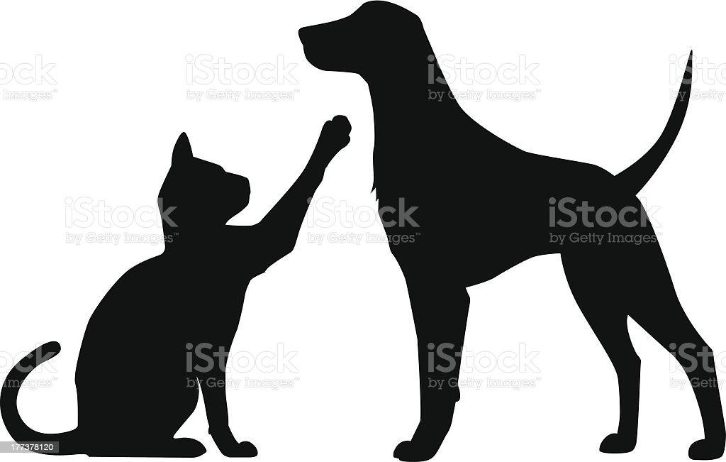 Dog Cat Play vector art illustration