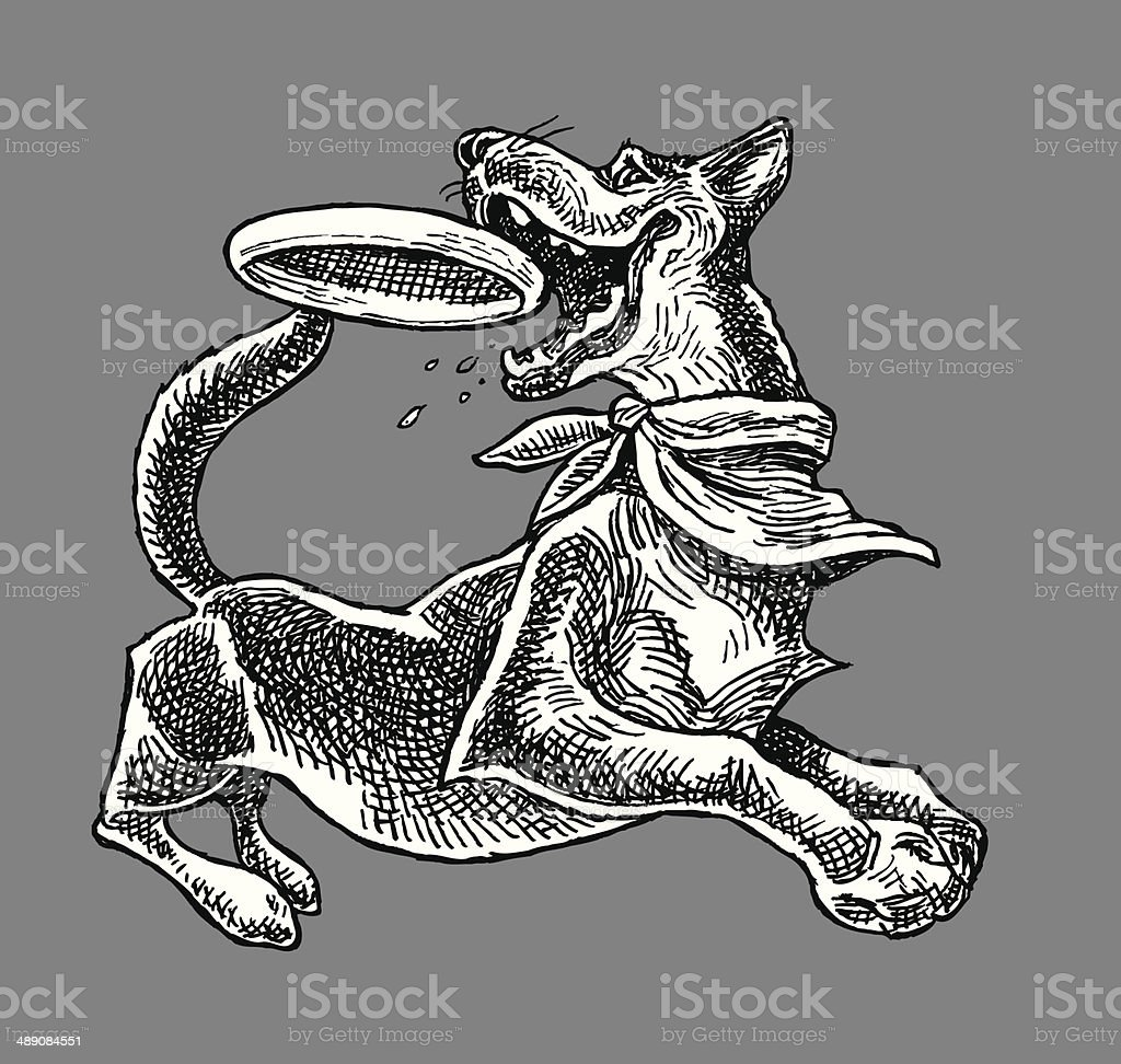 Dog catching Frisbee royalty-free dog catching frisbee stock vector art & more images of animal