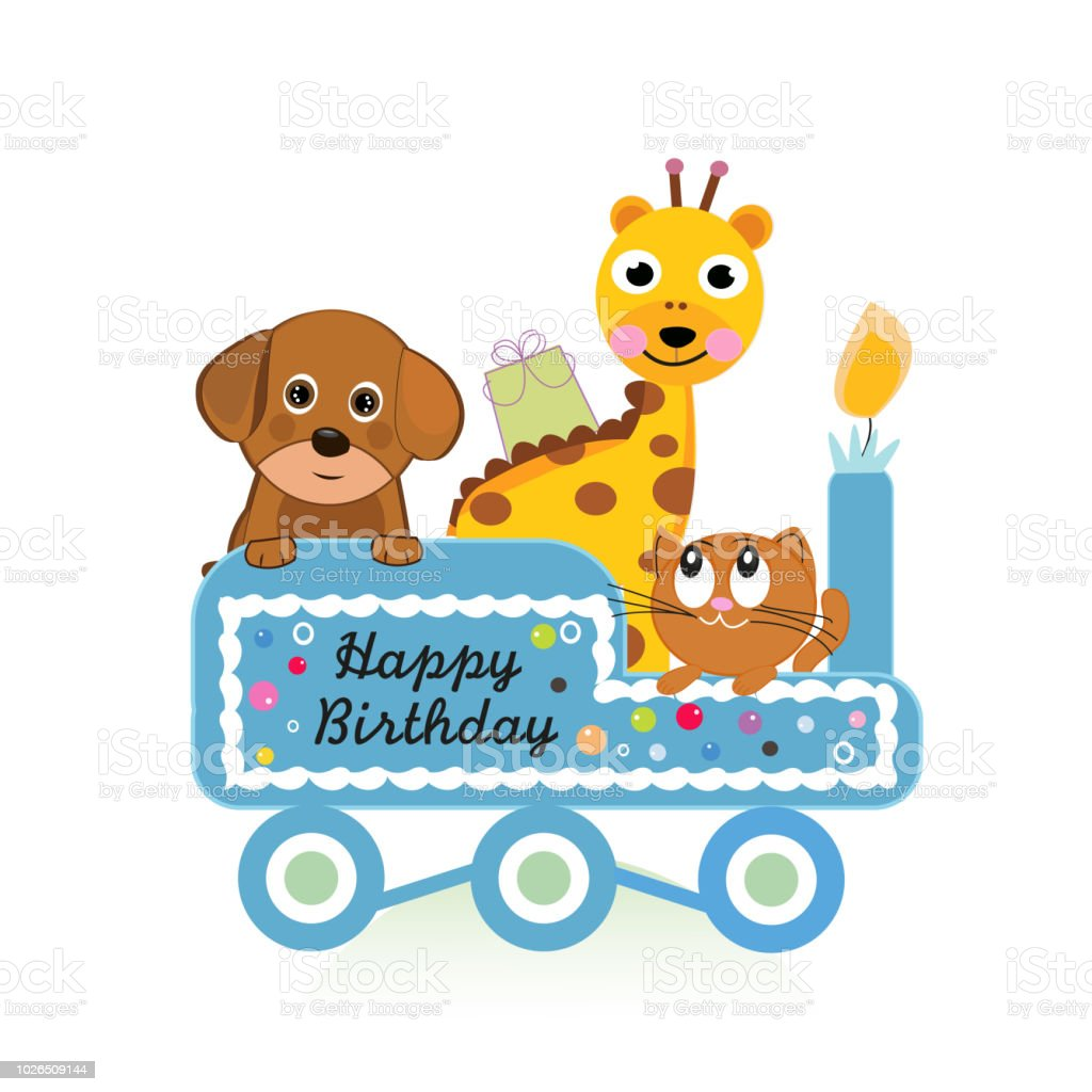 Dog Cats And Giraffe With Train Happy Birthday Greeting Card