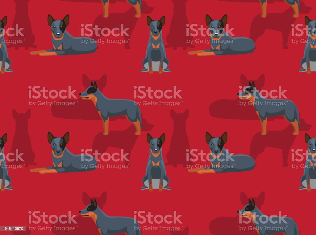 Dog Cattledog Cartoon Seamless Wallpaper vector art illustration